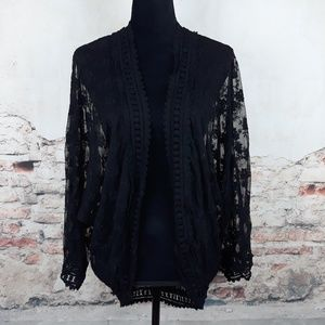 Love Stitch S Black Sheer Lace Open Front Cardigan